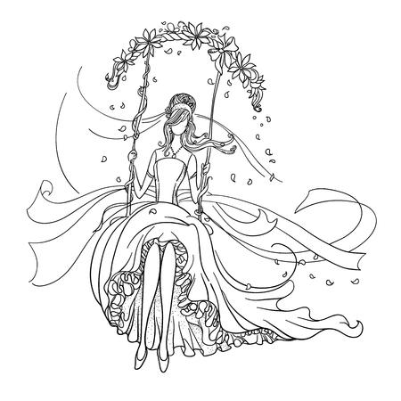 femme dessin: dessin Freehand d'un Beautiful Bride sur une balançoire. Noir dessin de contour. Illustration
