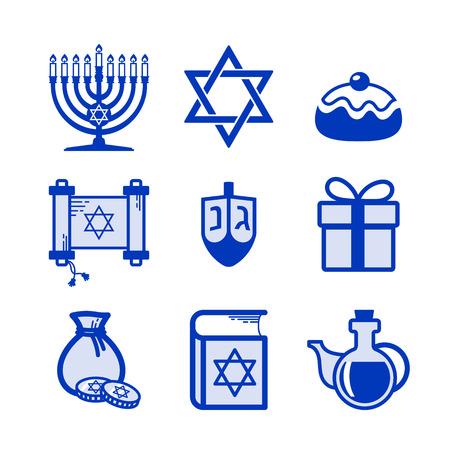 jewish: Jewish Holiday Hanukkah icons set