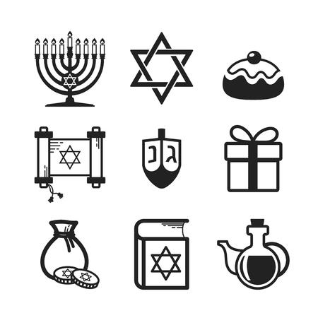 hanukkah: Jewish Holiday Hanukkah icons set, black and white linear elements Illustration