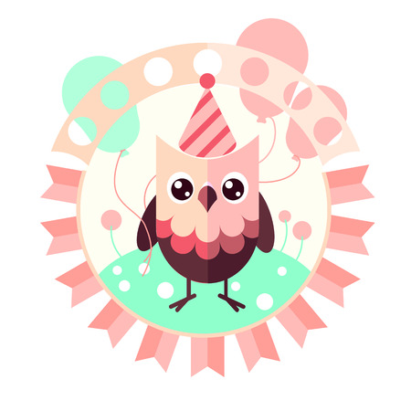 baloons: Cute vector owl with baloons. Flat design greetings card, invitation template Illustration