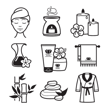 beauty mask: Spa and Wellness icons set
