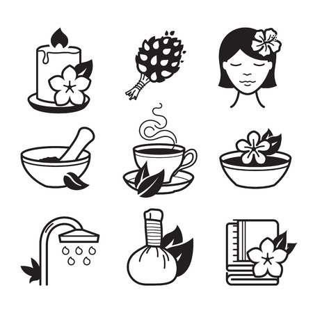 hair mask: Spa and Wellness icons set