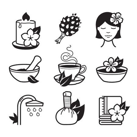 massage: Spa and Wellness icons set