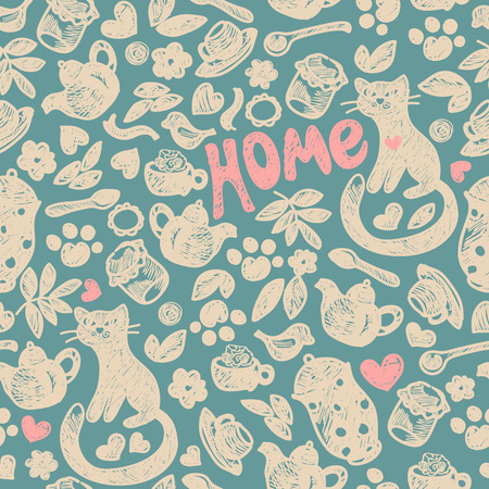 sweet home: Sweet Home seamless pattern. Grunge hand drawing. Illustration