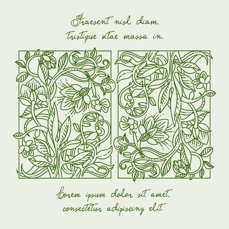 vintage design: Vintage floral design elements for green design