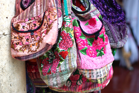 souvenir: Colorful textile handcrafted bags. Indonesian market