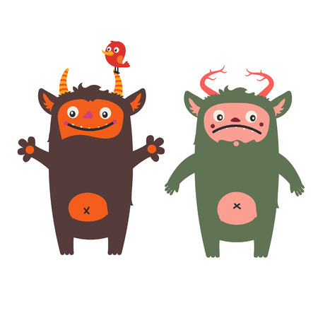 grumpy: Two cute monsters - friendly and grumpy