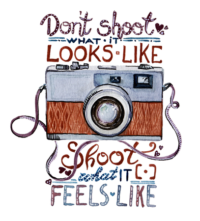 lens brush: Watercolor illustration - Retro camera with quote