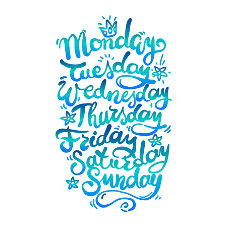 bluegreen: Hand Lettering Days of Week. Bluegreen color