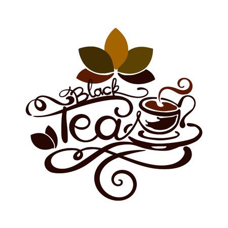 rooibos: Lettering - Black Tea - good for label, logo, menu decoration. Illustration
