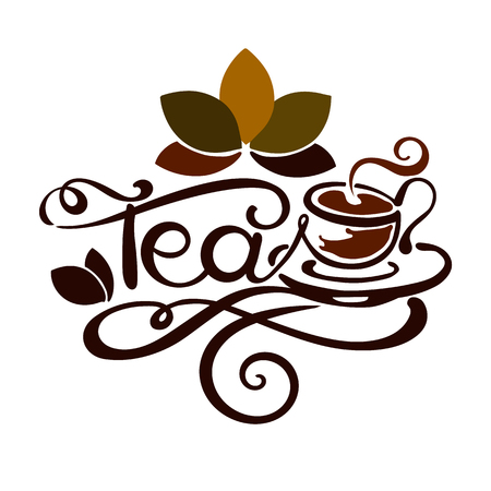 Lettering. word Tea with drawing of cup of tea. good for label, logo, menu.
