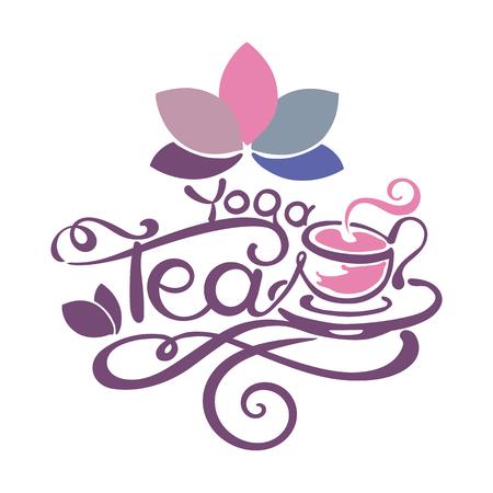 rooibos: Lettering - Yoga Tea - good for label, logo, menu decoration. Illustration
