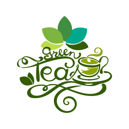 Lettering - Green Tea - good for label, logo, menu decoration.