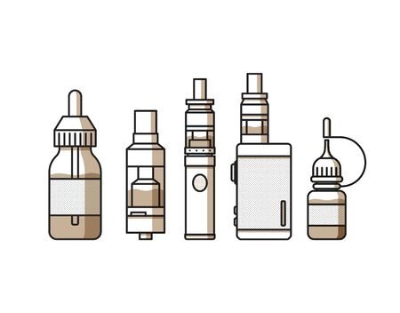vaporize: Vaping attributes and devices icons set Illustration