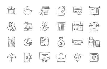 finance icons: Set of finance and business icons. Freehand drawing style. Simple linear elements Illustration