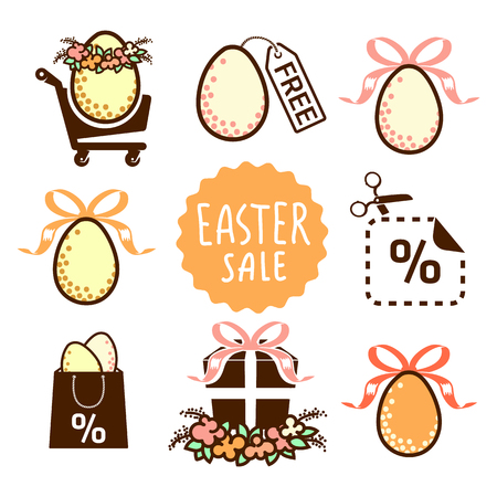 sale icons: Easter sale icons Illustration