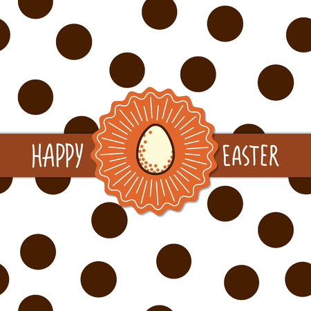 brown egg: Easter greetings card