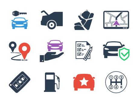 rental: Car rental Icons set Stock Photo