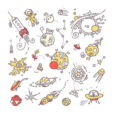 Doodles de l'espace. Collection de dessin à main levée drôle d'espace différent, d'univers réels ou d'objets et de créatures irréels.