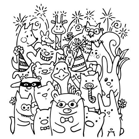 Dibujo A Mano Gratis De Amigos Animales Alegres - Diseño Para ...