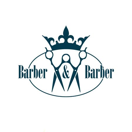 duet: Pair of scissors with Crown. Design Element in Vintage Style for Logotype, Label, Badge and other design.