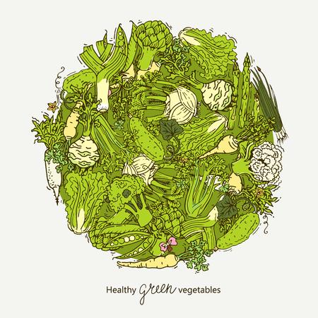 multivitamin: Green vegetables ball Illustration
