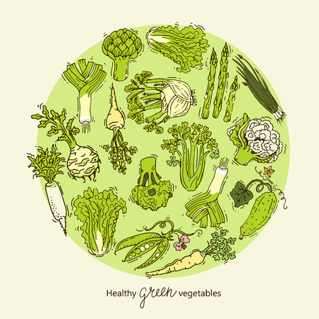 multivitamin: Green vegetables collection in circular form