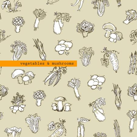 multivitamin: Pattern - vegetables and mushrooms Illustration