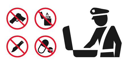 Customs control area sign and prohibition icons