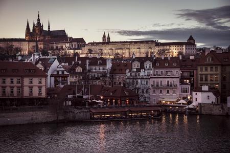 City Prague in Czech Republic. Old town in evening dusk.