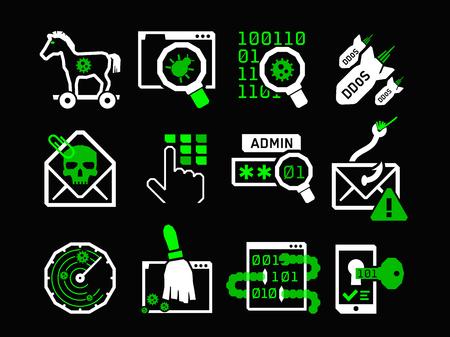 ddos: Hacking icons set