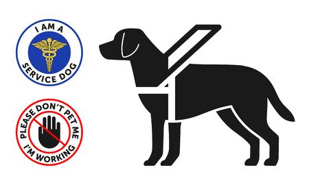 Símbolo de perro guía con dos insignias de perro de servicio redondo