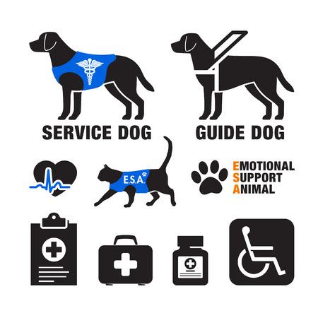 Perros de servicio y emblemas de animales de apoyo emocional.