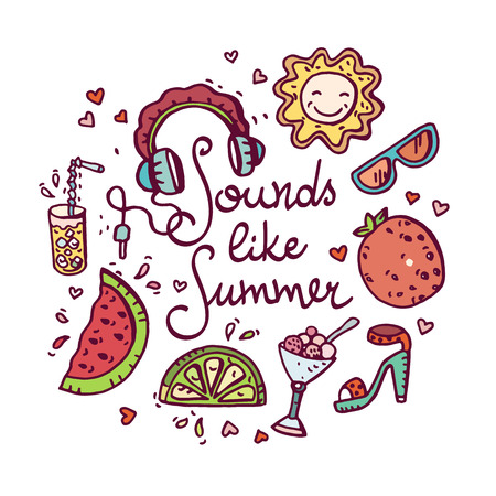 Summer doodle set. Banco de Imagens