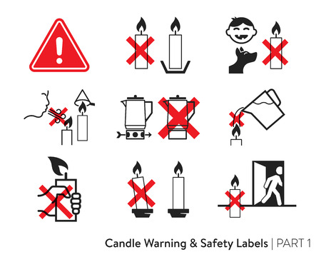 Adesivo di sicurezza della candela. Etichettatura per candele di cera. Standard europei di sicurezza della candela. Etichetta di sicurezza antincendio