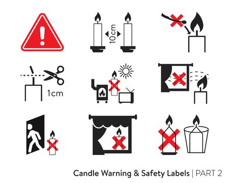 cautionary: Candle Safety Sticker. Labeling for wax candles. European candle safety standards. Fire-safety label