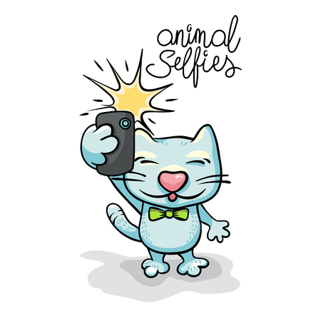 Cartoon cat character taking selfie photo on smart phone. Vector flat illustration. Hand-drawn illustration.
