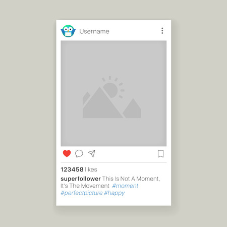 Mobile app photo or video frame with set of icons, social media app frame
