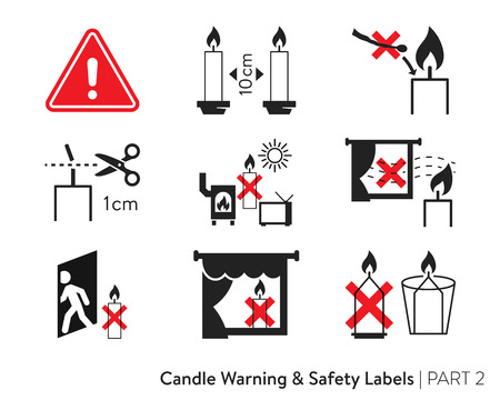 Candle Safety Sticker. Labeling for wax candles. European candle safety standards. Fire-safety label