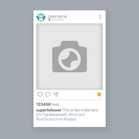 Mobiele app-foto of videoframe met set pictogrammen, social media-app-frame