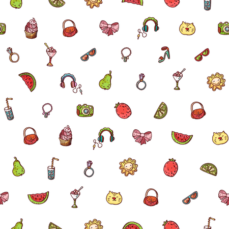 Summer doodle seamless pattern. Various fruits, drinks, objects, fashion and style accessories Banco de Imagens