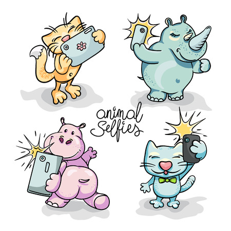 Set of four cartoon animals taking selfie on smart phone. Vector hand-drawn illustration Фото со стока