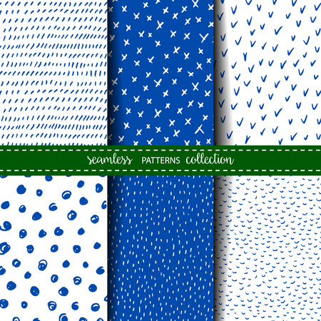 Set of six hand drawn seamless patterns Illustration