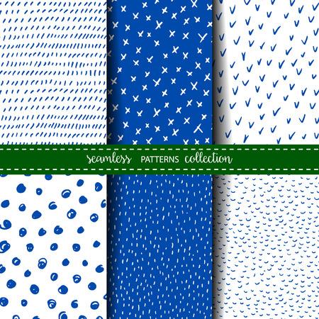 Set of six hand drawn seamless patterns Çizim