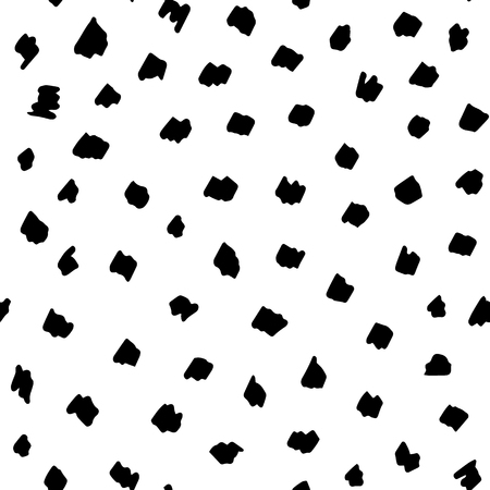 Abstract simple seamless texture with hand drawn elements in black on white Illustration