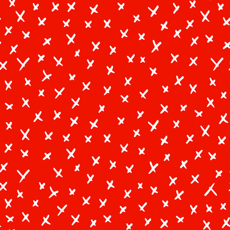 Abstract simple seamless texture with hand drawn crosses, white on bright red