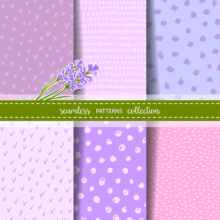 provence: Set of six hand drawn seamless patterns for Lavender theme design. Backgrounds with dots, stripes, crosses. Bouquet of Lavender flowers. Illustration
