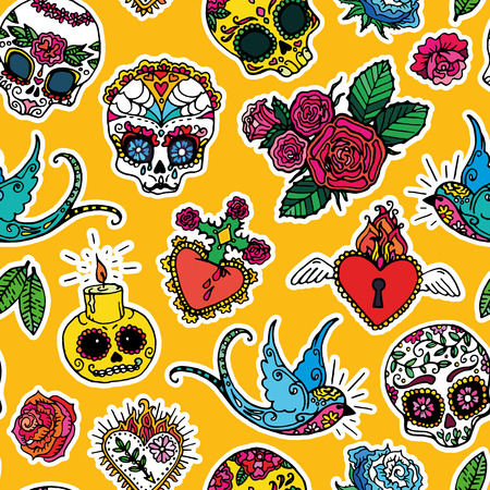 rose tattoo: Dia de los Muertos or Day of the Dead seamless pattern