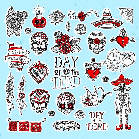 Dia de Los Muertos oder Tag der Toten Hand skizzierte Kritzeleien Standard-Bild - 87467725