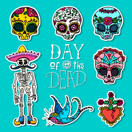 corazon: Day of the Dead hand drawn stickers